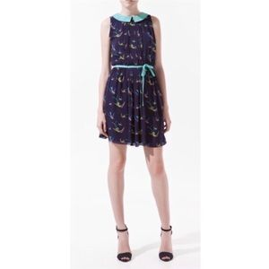 Zara Navy Bird Print Dress